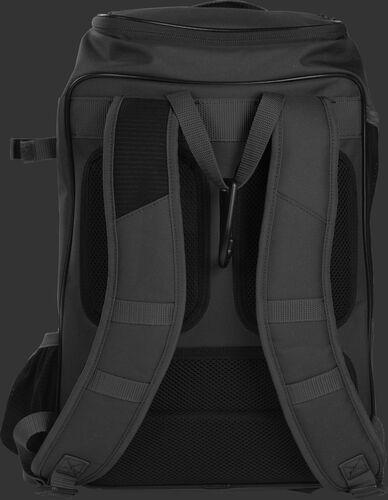 Back shoulder straps of a black R701 baseball gear backpack