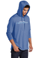 A man wearing a royal Rawlings performance hoodie with the hood up over his head - SKU: RSGLH-R image number null