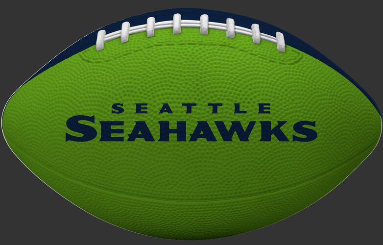 Green side of a Seattle Seahawks Gridiron tailgate football with team name SKU #09501085121
