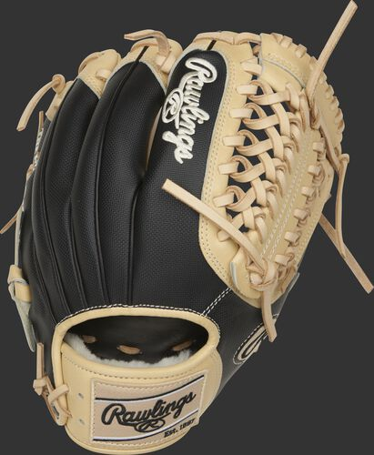 Speed Shell back of a 11.75-Inch Pro Preferred Modified Trap-Eze web glove with a camel Rawlings patch - SKU: PROS205-4CSS