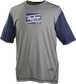 A gray/navy Rawlings adult Hurler performance short sleeve shirt with a navy Rawlings logo on the chest - SKU: HSSP-GR/N image number null