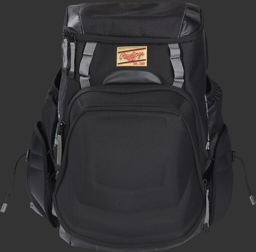 Front of a black R1000 Rawlings Gold Glove backpack with a gold patch