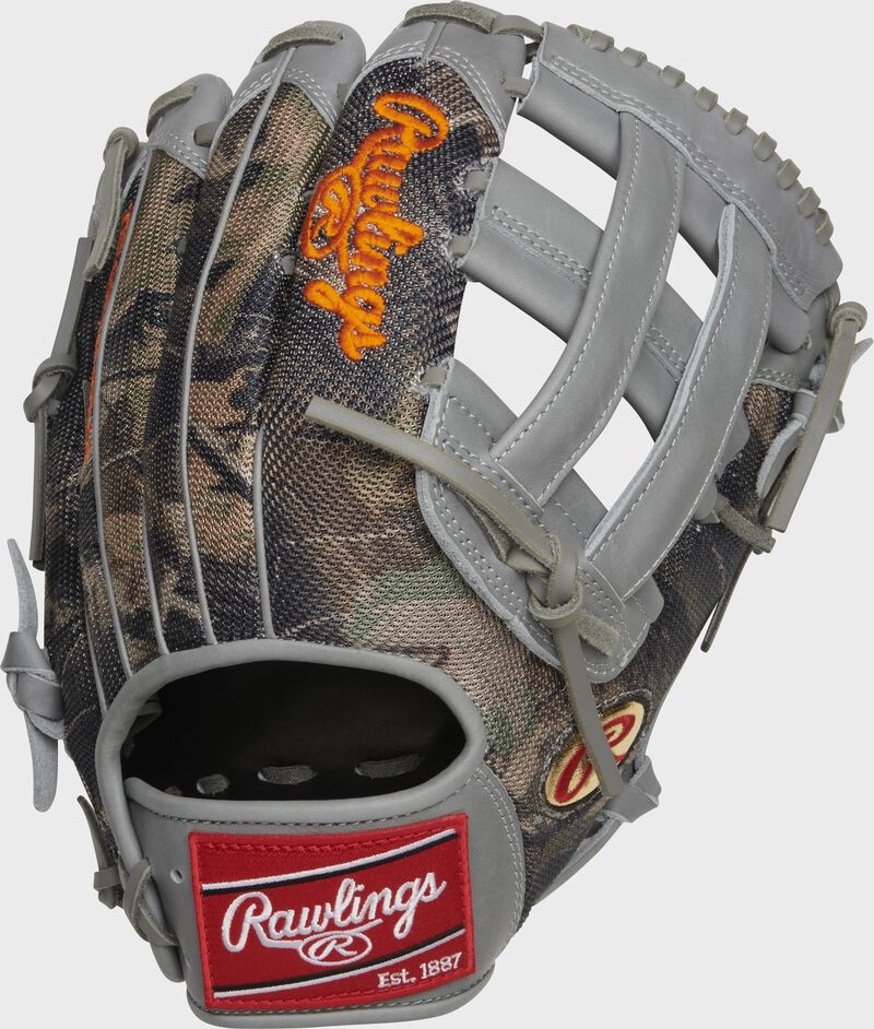 Camo mesh back of a Heart of the Hide Gameday 57 Trent Grisham H-web glove with a red Rawlings patch - SKU: RSGPRO3029-TG2