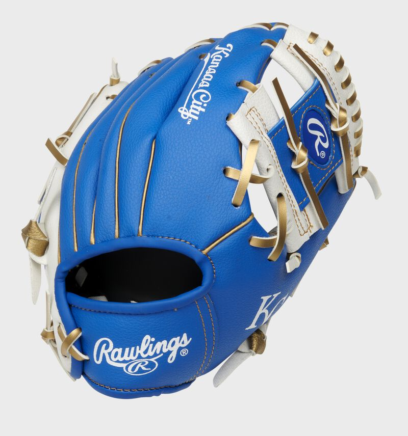 Back of a blue/white Kansas City Royals 10-inch I-web glove with a red Rawlings patch - SKU: 22000026111