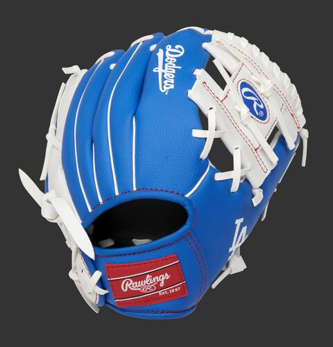 Back of a blue/white Los Angeles Dodgers 10-inch I-web glove with a red Rawlings patch - SKU: 22000011111