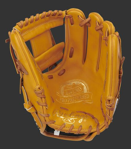 Rich tan palm of a Pro Preferred infield glove with gold stamping, tan web and tan laces - SKU: PROS204-2RT