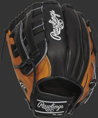 Black back of a left hand throw Heart of the Hide Horween H-web glove with horween tan trim and a black Rawlings patch - SKU: PRO3039-6HTB