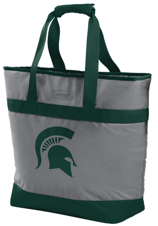 A grey NCAA Michigan State Spartans 30 can tote cooler with green accents and a team logo printed on the front