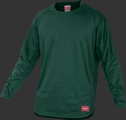 Front of Rawlings Dark Green Youth Long Sleeve Shirt - SKU #YUDFP3-B-88