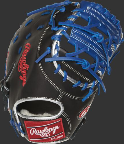 Back of a black Pro Preferred Anthony Rizzo 1st base mitt with platinum binding and red Rawlings patch - SKU: PROSAR44B
