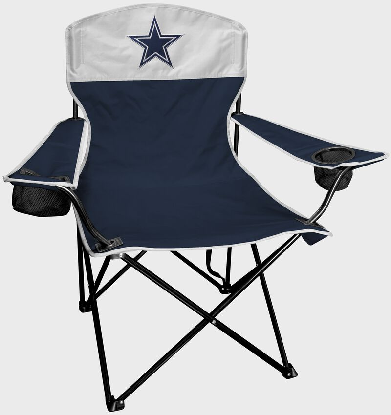 A Dallas Cowboys lineman chair with the team logo on the back