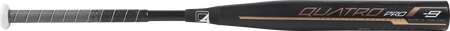 Barrel of a black FPQP9 Quatro Pro college/high school softball bat with black/grey grip