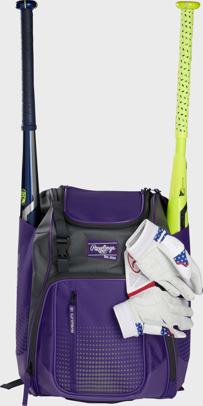 A purple Franchise backpack with two bats in the sides and batting gloves on the front Velcro strap - SKU: FRANBP-PU