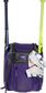 A purple Franchise backpack with two bats in the sides and batting gloves on the front Velcro strap - SKU: FRANBP-PU image number null