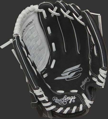 SC105BGB Rawlings Sure Catch youth glove with a black palm and grey laces