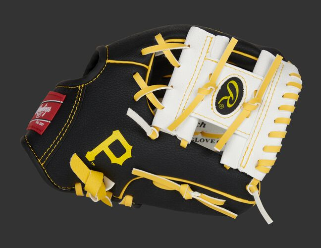 Thumb of a black/white Pittsburgh Pirates 10-inch team logo glove with a white I-web and Pirates logo on the thumb - SKU: 22000021111