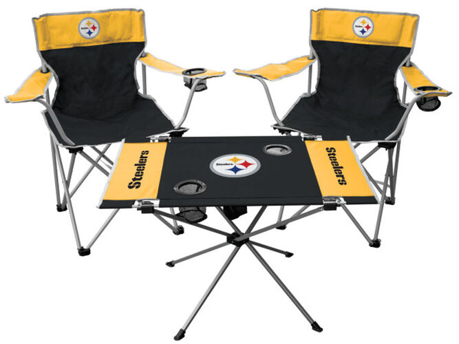 Front of Rawlings Black and Yellow NFL Pittsburgh Steelers 3-Piece Tailgate Kit With Two Kickoff Chairs, An Endzone Table, And A Transport Bag With Team Logo SKU #01041082511