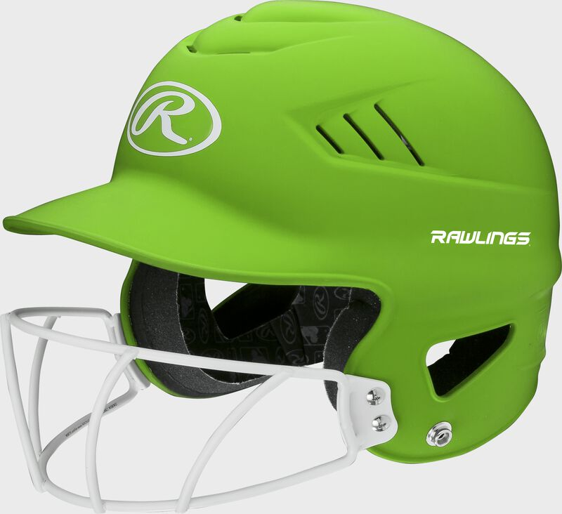 A neon green RCFHLFG Coolflo batting helmet with a white facemask