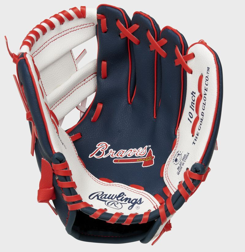 A navy/white Rawlings Atlanta Braves youth glove with the Braves logo stamped in the palm - SKU: 22000005111