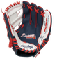 A navy/white Rawlings Atlanta Braves youth glove with the Braves logo stamped in the palm - SKU: 22000005111 image number null