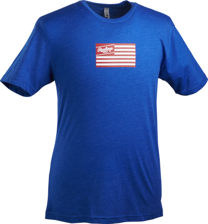 A royal blue Rawlings American Flag short sleeve shirt with a red print flag