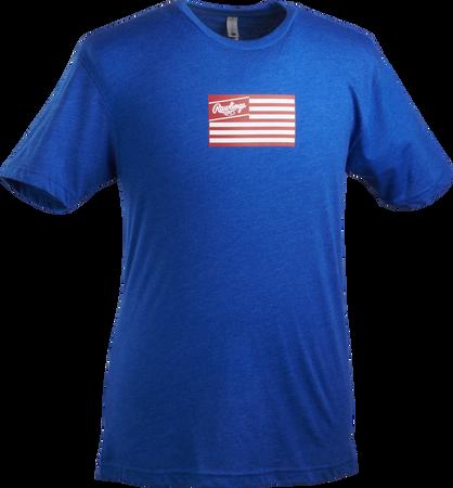 A royal blue Rawlings American Flag short sleeve shirt with a red print flag