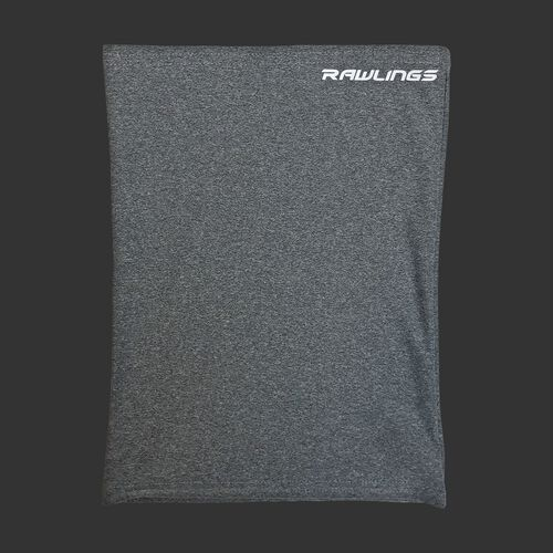 A heather gray Rawlings neck gaiter with a white Rawlings logo in the top right - SKU: RMSKNG-HGRY