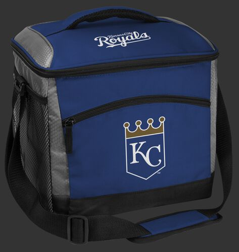 A blue Kansas City Royals 24 can soft sided cooler with screen printed team logos - SKU: 10200026111