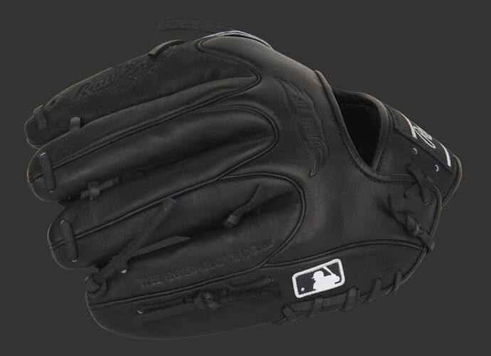 Black finger backs of a HOH Wing Tip glove with the MLB logo on the pinkie - SKU: PRO205W-9B