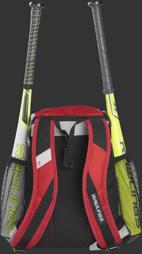 Back of a scarlet R400 Rawlings youth equipment backpack with scarlet shoulder straps and two bats