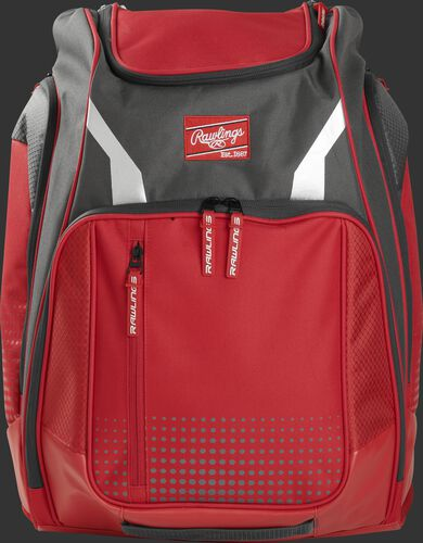 A scarlet Legion backpack with a Rawlings patch on the front - SKU: LEGION-S