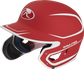 Left angle view of a MACHEXTR Rawlings Mach EXT Junior helmet with a two-tone matte scarlet/white shell image number null