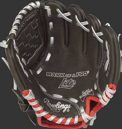MPL950DSB Rawlings 9.5-inch youth baseball glove with a dark shadow palm, silver laces and Sure Catch design