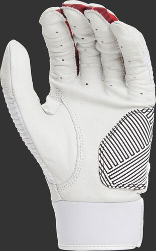 White palm of a WH950BGY-USA Workhorse batting glove with a palm pad