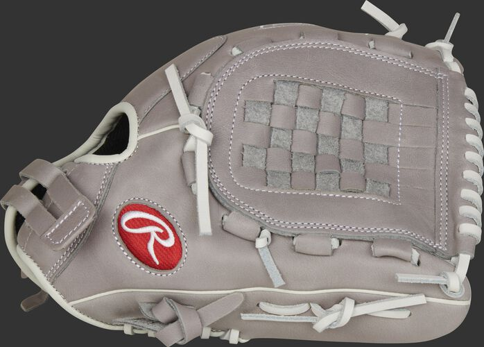 Thumb of a gray 2021 R9 Series 12-inch fastpitch infield/pitcher's glove with a gray Basket web - SKU: R9SB120-3G