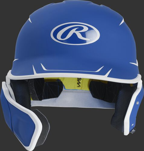 Front of a matte royal/white MACHEXTR senior size Mach batting helmet with face guard extension for left hand batters