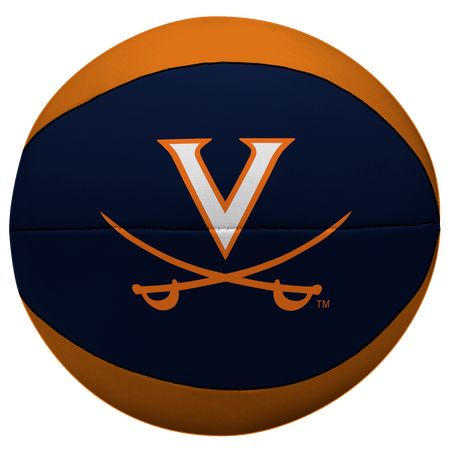 A NCAA Virginia Cavaliers softee basketball with alternating orange and navy panels and printed team logo