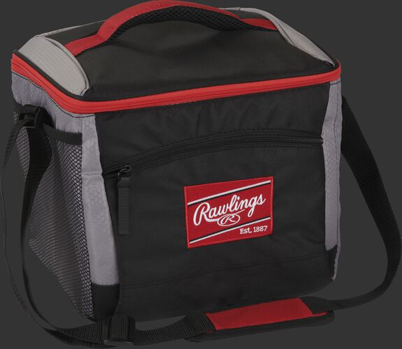 Front angle of a black 24 can cooler with a red Rawlings patch, red handle on the top and shoulder strap - SKU: 10224043511