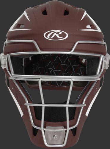 Front of a cardinal CHV27J Velo 2.0 hockey-style catcher's helmet