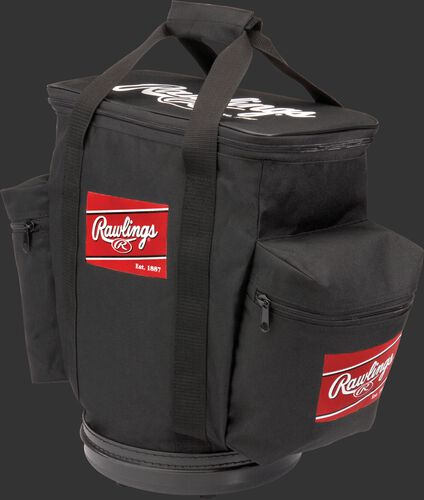 A black RBALLB-B baseball bucket ball bag with a side compartment on each side