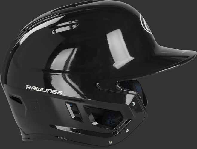 Right side of a black MCH01A Rawlings high school Mach helmet