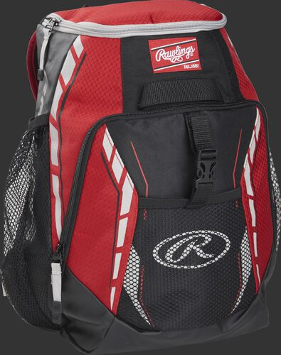 Side angle of a scarlet R400 Rawlings youth players backpack with a Rawlings patch logo and Gray Oval R logo