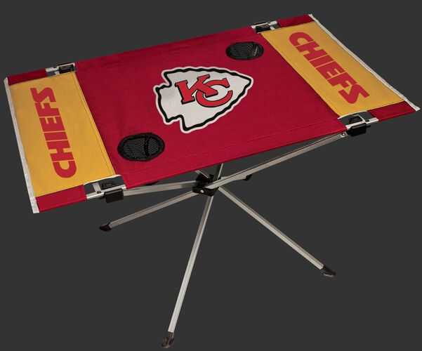 Rawlings Red and Yellow NFL Kansas City Chiefs Endzone Table With Two Cup Holders, Team Logo, and Team Name SKU #03391071111