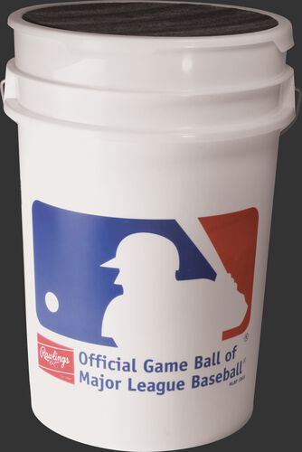 Official MLB logo on a RSXBUCK30 bucket of 30 practice baseballs