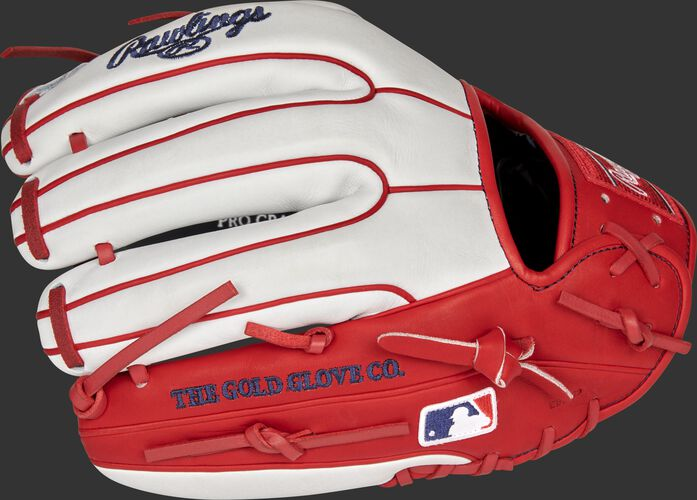 White/scarlet back of a Washington Nationals Heart of the Hide infield glove with the MLB logo on the pinky - SKU: RSGPRO314-2WSH