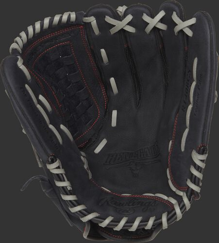 R140BGS Rawlings Renegade recreational outfield glove with a black palm and grey laces