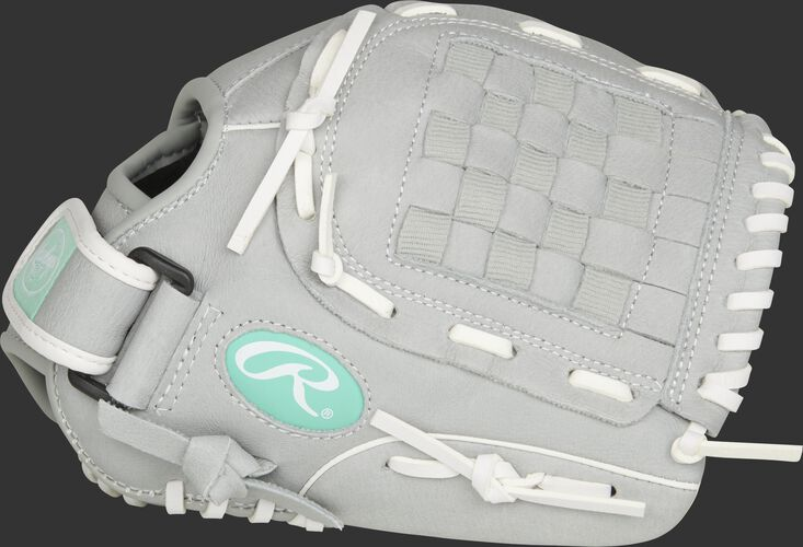Thumb of a grey SCSB110M Sure Catch 11-inch youth infield/outfield glove with a grey Basket web