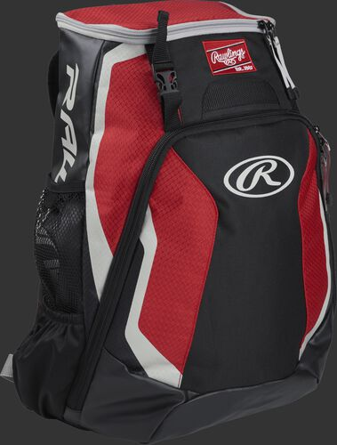 Right side of a black/scarlet R500 Rawlings Players equipment backpack with white trim