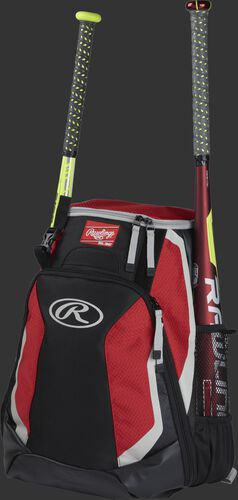 Left side of a black/scarlet R500 baseball backpack with a red bat in the side sleeve