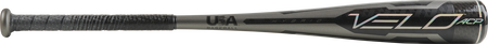 Barrel of a grey USZV10 2020 Velo ACP -10 USA bat with black/silver accents